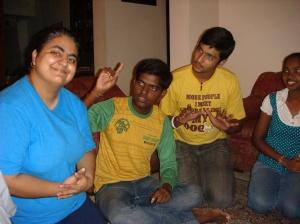 Divya Bhandari (in blue)